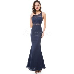 Mermaid Evening Dresses Backless Lace Illusion Sweetheart Floor Length Dark Navy Formal Dresses found on MODAPINS from Milanoo.com Ltd for USD $119.99