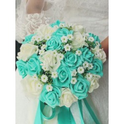 Wedding Flower Bouquet Mint Green Silk Ribbons Bridal Bouquets found on Bargain Bro India from Milanoo.com Ltd for $26.99