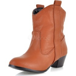 ed7d8cf28d19d Brown Cowboy Booties Women's Chunky Heel Round Toe Short Boots found on  MODAPINS from Milanoo.