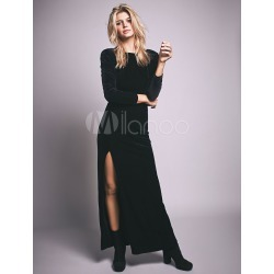 Black Maxi Dress Backless Long Sleeve High Split Round Neck Women's Long Dress