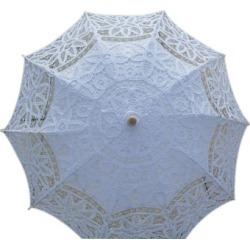 White Cotton Canopy Wood Handle Wedding Umbrella