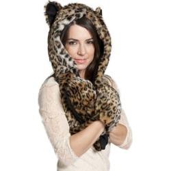 Hats Leopard Ears Hood Paws Winter