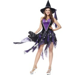 Witch Costume Halloween Women Purple Skirt High Low Ruffles Costume Outfit