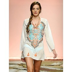 adc9cee238 Beach Cover Up Dress White Boho Embroidered Tassel Long Sleeve Women  Bathing Suit found on MODAPINS
