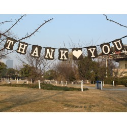 Wedding THANK YOU Banner Black Square Card Paper Wedding Decorations