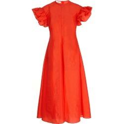 Beaufille Dorado Ruffle-Sleeve Crepe Midi Dress found on MODAPINS from Moda Operandi for USD $360.00