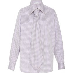 Area Cystal-Embellished Tie-Accented Printed Shirt found on MODAPINS from Moda Operandi for USD $850.00