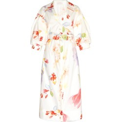 Peter Pilotto Belted Floral Cotton Shirt Dress