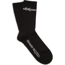 Alexander McQueen Ribbed Logo-Intarsia Stretch Cotton-Blend Socks found on MODAPINS from Moda Operandi for USD $85.00