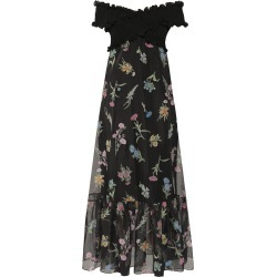 Anna October Ani Floral-Print Organza Off-The-Shoulder Maxi Dress