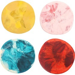 Dinosaur Designs Set-of-Four Multi-Color Resin Boulder Coasters