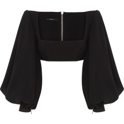 Alex Perry Bane Stretch Crepe Portrait Balloon Sleeve Crop Top found on MODAPINS from Moda Operandi for USD $1200.00