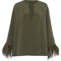 Valentino Feather-Trimmed Silk Cady Top found on Bargain Bro Philippines from Moda Operandi for $2790.00