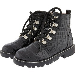 Patent Croc Lace-Up Ankle Boots Black found on Bargain Bro UK from Monsoon