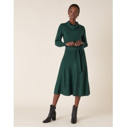 Monsoon Teal Stylish Cowl Neck Belted Knitted Dress, in Size: S found on Bargain Bro UK from Monsoon