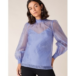 Monsoon Blue Slim Aubree Organza Blouse, Floral Embroidery, in Size: 12 found on Bargain Bro UK from Monsoon