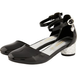 Monsoon Heart Charm Patent Two-Part Heeled Shoes Black found on Bargain Bro UK from Monsoon