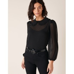 Monsoon Black Smart Dobby Chiffon Collared Blouse, in Size: M found on Bargain Bro UK from Monsoon