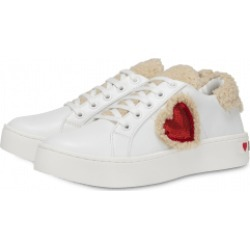 Love Moschino Faux Fur And Heart Sneakers Woman White Size 37 It - (7 Us)