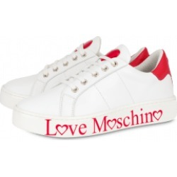 Love Moschino Calfskin Sneakers With Logo Woman White Size 41 It - (11 Us)