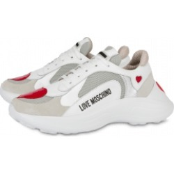 Love Moschino Calfskin And Mesh Sneakers With Hearts Woman White Size 37 It - (7 Us)