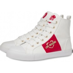 Love Moschino High Sneakers With Heart And Logo Woman White Size 37 It - (7 Us)