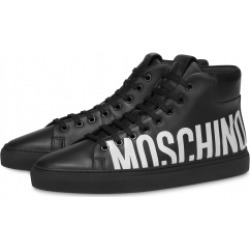 Moschino Leather High Sneakers With Logo Man Black Size 39 It - (6 Us)