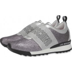 Love Moschino Elastic Band Glitter Slip On Sneakers Woman Grey Size 40 It - (10 Us)