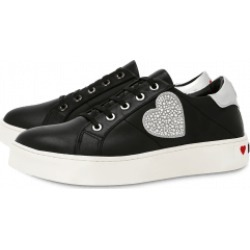 Love Moschino Leather Sneakers With Rhinestone Heart Woman Black Size 35 It - (5 Us)