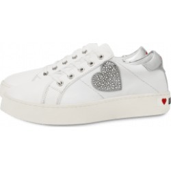 Love Moschino Leather Sneakers With Rhinestone Heart Woman White Size 38 It - (8 Us)