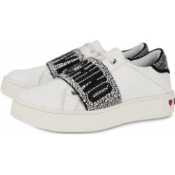 Love Moschino Rhinestone Band Leather Sneakers Woman White Size 41 It - (11 Us)