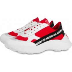 Love Moschino Ribbon Logo Mesh Sneakers Woman Red Size 38 It - (8 Us)