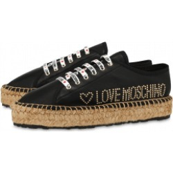 Love Moschino Sneakers In Nappa Leather Stud Logo Woman Black Size 39 It - (9 Us)