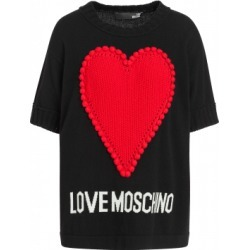 Love Moschino Sweater With Heart And Logo Woman Black Size 40 It - (6 Us)