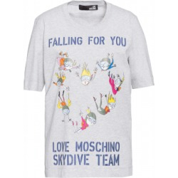 Love Moschino Skydive Team Jersey T-shirt Woman Grey Size 38 It - (4 Us)