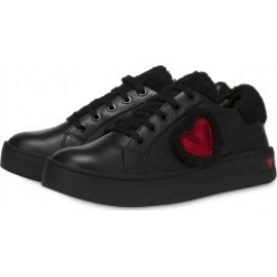 Love Moschino Faux Fur And Heart Sneakers Woman Black Size 37 It - (7 Us)