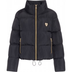 Love Moschino Nylon Down Jacket With Heart Woman Black Size 44 It - (10 Us)