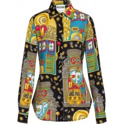 Moschino Slot Machine Twill Shirt Woman Multicoloured Size 40 It - (6 Us)