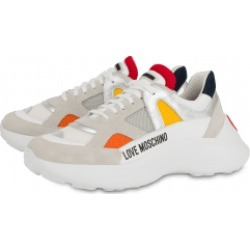 Love Moschino Mesh, Crust And Calfskin Sneakers With Heart Woman Multicoloured Size 37 It - (7 Us)