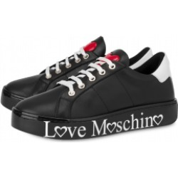 Love Moschino Calfskin Sneakers With Logo Woman Black Size 38 It - (8 Us)