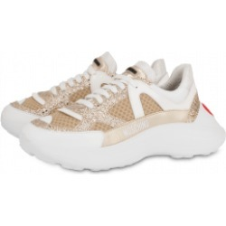Love Moschino Glitter And Mesh Sneakers With Heart Woman Beige Size 41 It - (11 Us)
