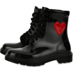 Love Moschino Rain Boots With Heart Woman Black Size 37