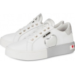 Love Moschino Calfskin Sneakers With Bicolor Sole Woman White Size 37 It - (7 Us)