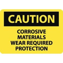 NMC Caution - Corrosive Materials - Wear Required Protection, 14 found on Bargain Bro Philippines from mscdirect.com for $13.71