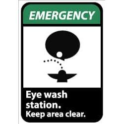 NMC Eyewash Sta Kp Clr 5pk 3x5 Vinyl Emergency Label EGA4AP