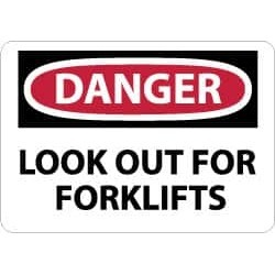 NMC 7x10 Rigid Plastic Danger Lookout Fork Sign D65R