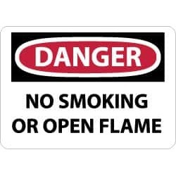 NMC 10x14 Plastic Sign Danger No Smoking/flame D648RB