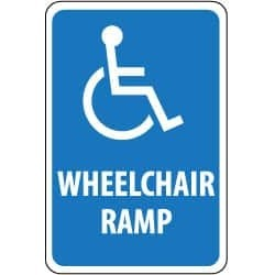 NMC Wheelchair Ramp (Message) with Handicap Symbol Graphic, 12 In