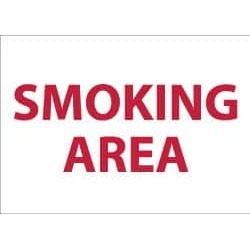 "NMC 10""x14"" Rigid Plastic Smoking Area Sign M44RB"