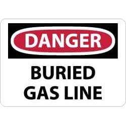 NMC 10x14 Rigid Plastic Dnger Buried Gasline Sign D234RB